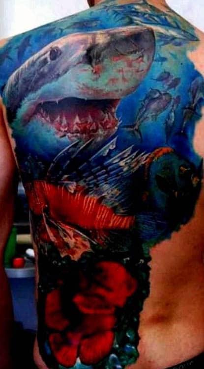 Men Tattoo Shark Designs On Back