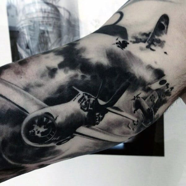 Men With Realistic Black Ink Fighter Aircraft Us Air Force Tattoos On Arm