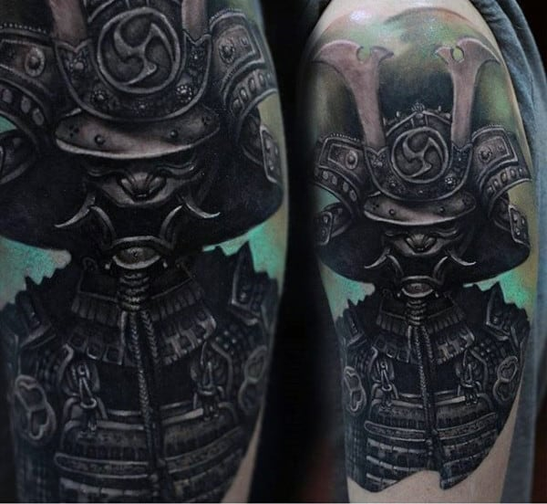 Menacing Black Ink Half Sleeve Samurai Mask Tattoo For Guys