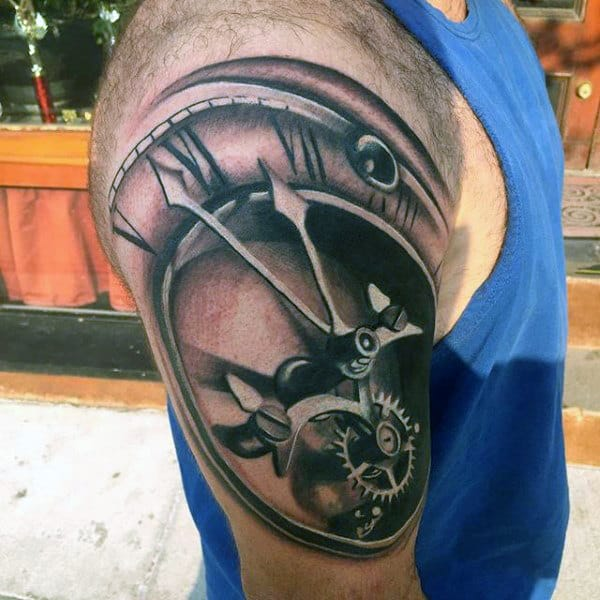 Menc Arms Cool Mechanical Geared Clock Tattoo