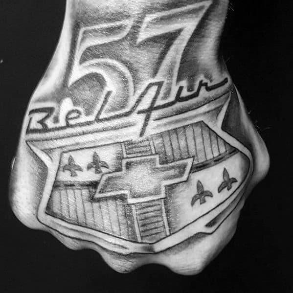 Mens 1957 Bel Air Chevrolet Hand Tattoos