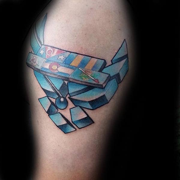 Mens 3 D United States Air Force Upper Arm Tattoos With Blue Ink