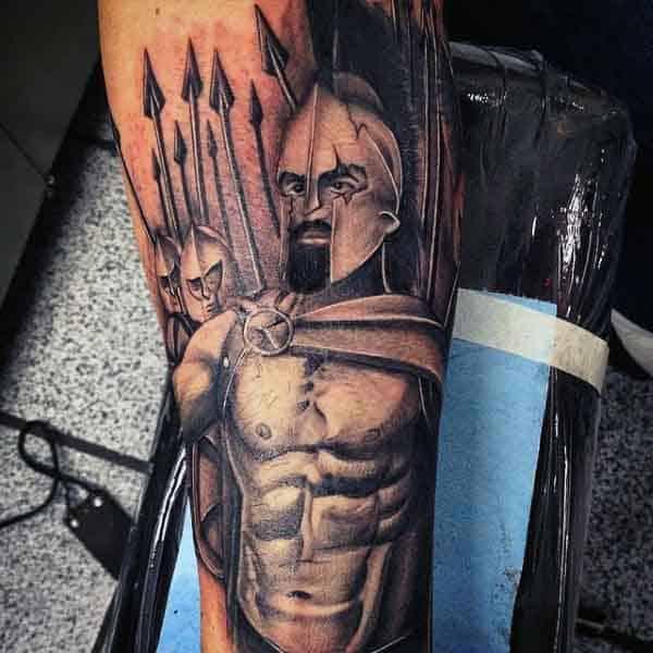 Men's 300 Spartan Tattoo On Legs