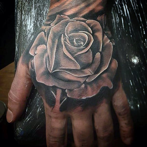 Mens 3D Black And White Rose Tattoo
