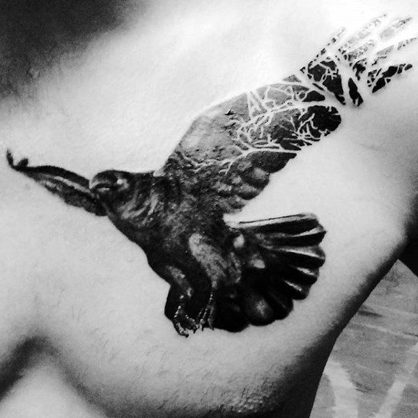 Mens 3D Black Raven Tattoo On Chest