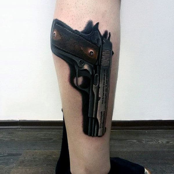 Mens 3D Dark Pistol Tattoo On Calves