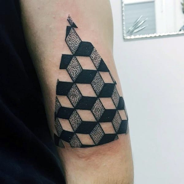 Mens 3D Geometrical Dotted Traingle On Arms