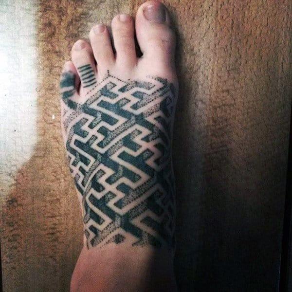 Mens 3D Maze Tattoo On Foot