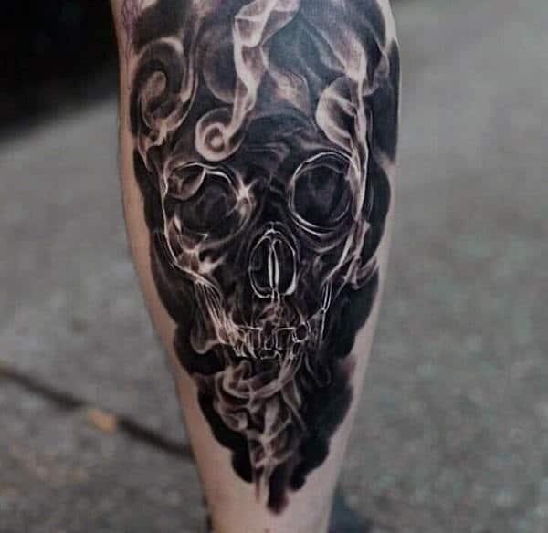 Men's 3D Tattoos Skull Smoke