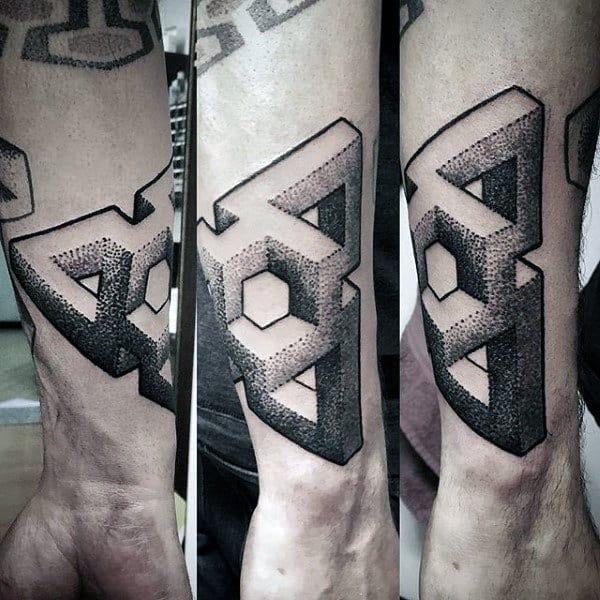 Mens 3d Amazing Shape Tattoo On Wrist Of Arm