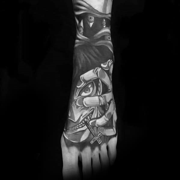 Mens 3d Anime Foot Tattoo With Shaded Black And Grey Ink Design