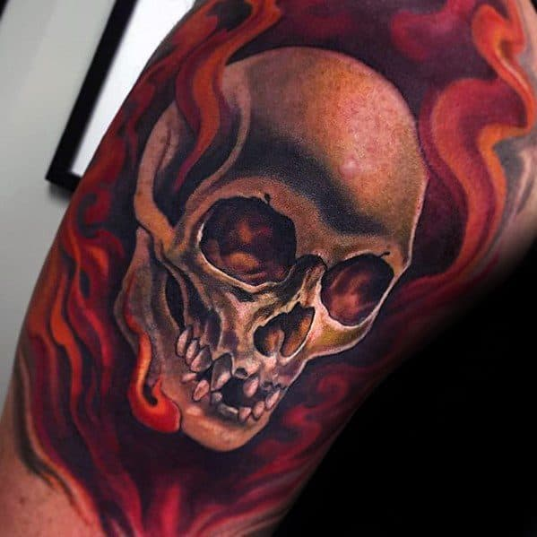 Mens 3d Arm Cool Flaming Skull Tattoo Ideas