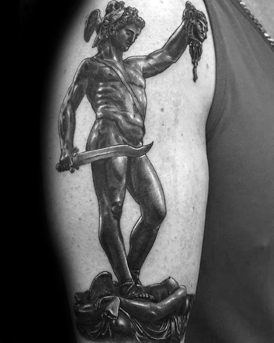 Mens 3d Arm Realistic Perseus Statue Tattoo Ideas