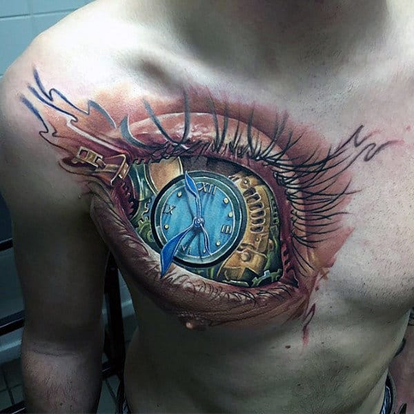 Mens 3d Awesome Eye Clock Upper Chest Tattoo Design