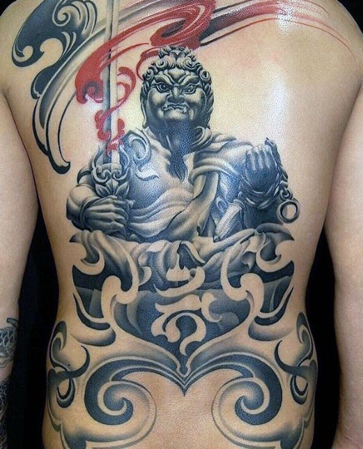 Mens 3d Back Tattoo Fudo Myoo Design