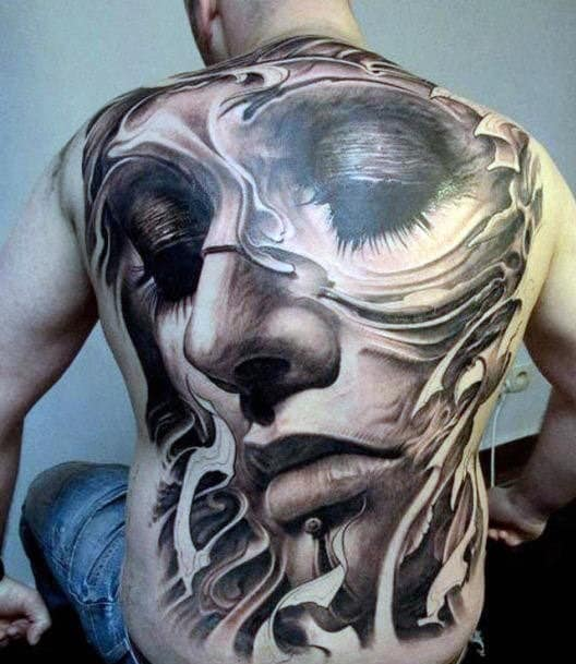 Men's 3D Back Tattoos of Face