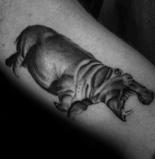 Mens 3d Bicep Hippo Tattoo