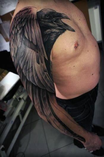 Men's 3D Bird Sleeve Tattoos
