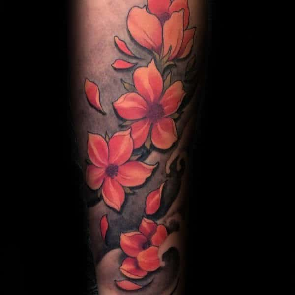 Mens 3d Cherry Blossom Forearm Sleeve Tattoos