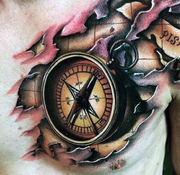 Mens 3d Compass Torn Skin Map Tattoo On Chest