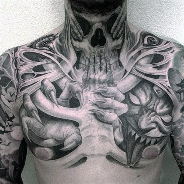 Mens 3d Demon Bones Chest Tattoo