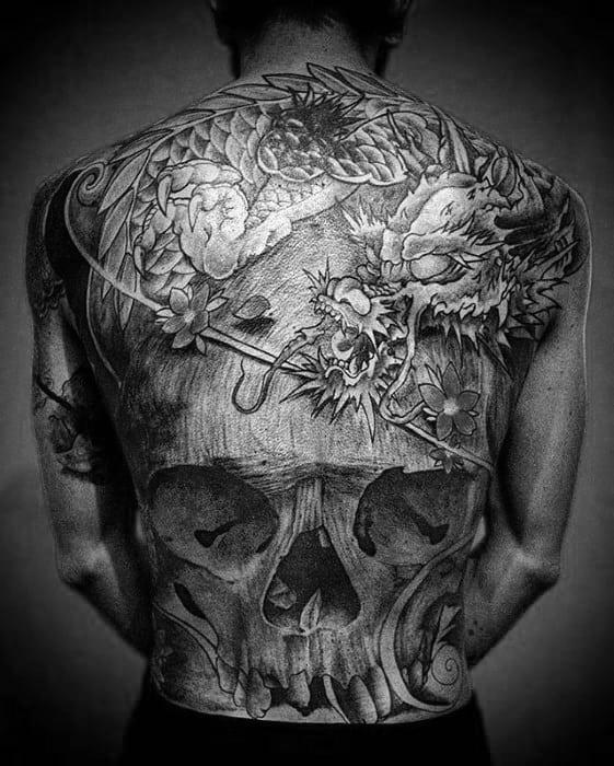 Mens 3d Dragon Skull Japanese Full Back Tattoos