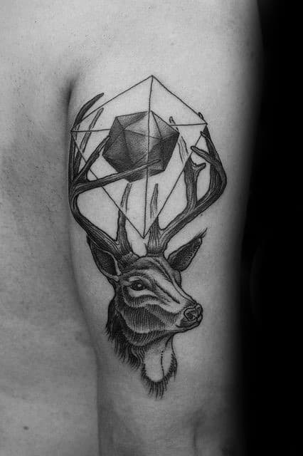 Mens 3d Geometric Cube With Deer Head Back Of Arm Tattoo