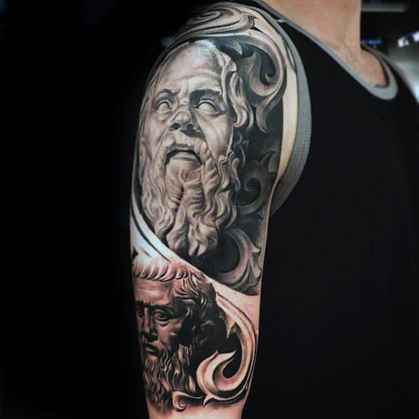 Mens 3d Half Sleeve Socrates Tattoo Ideas