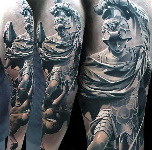 Mens 3d Hyper Realistic Tattoo Ideas With Roman Statue Design
