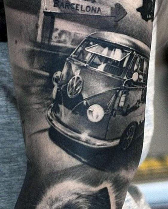 Mens 3d Hyper Realsitic Sleeve Volkswagen Wv Tattoo Design Ideas