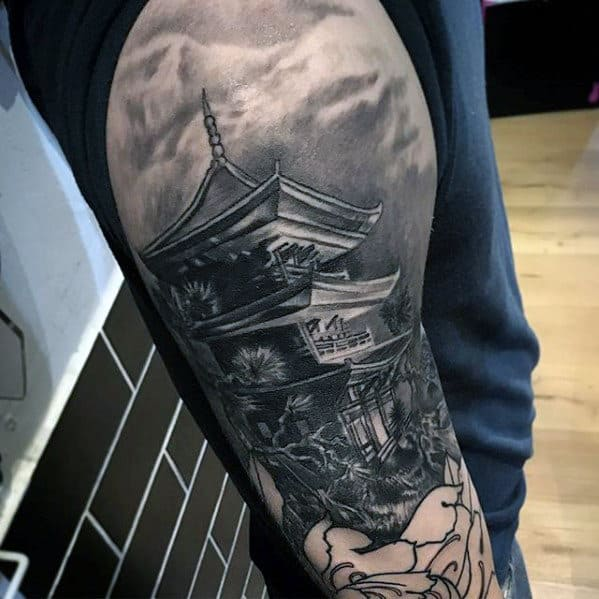 Mens 3d Japanese Realistic Temple Half Sleeve Tattoo Ideas