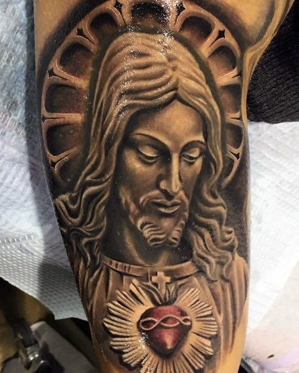 Mens 3d Jesus Sacred Heart Half Sleeve Tattoo