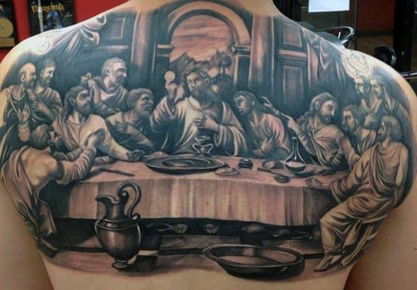 Mens 3d Jesus Tattoo Last Supper Design Inspiration On Upper Back
