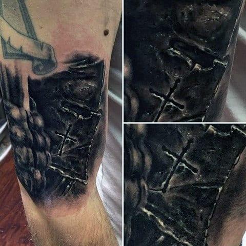 Mens 3d Knight Helmet Realistic 3d Arm Tattoo