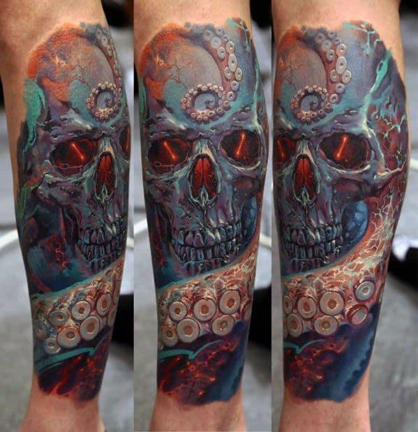 Mens 3d Leg Sleeve Octopus Skull Tattoo Design Ideas