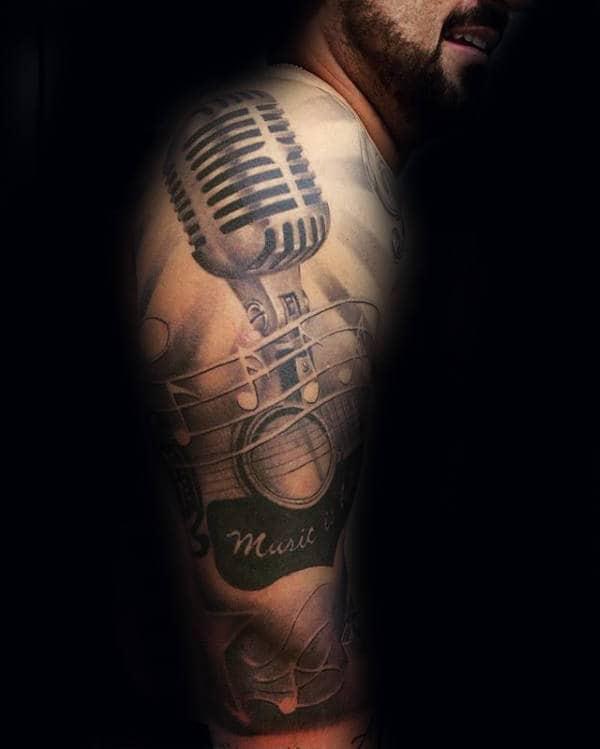 Mens 3d Microphone Music Sleeve Tattoo Design Ideas
