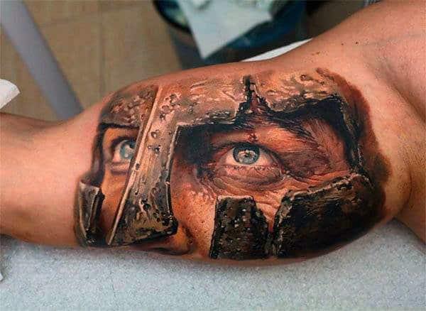 Mens 3d Optical Illusion Spartan Warrior Bicep Tattoo