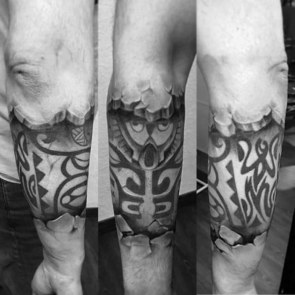 Mens 3d Polynesian Tribal Broken Stone Forearm Sleeve Tattoo