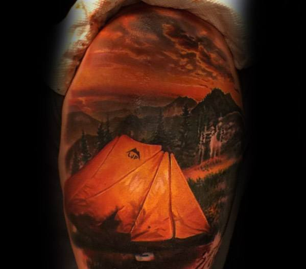 Mens 3d Realistic Arm Tattoo With Tent Design