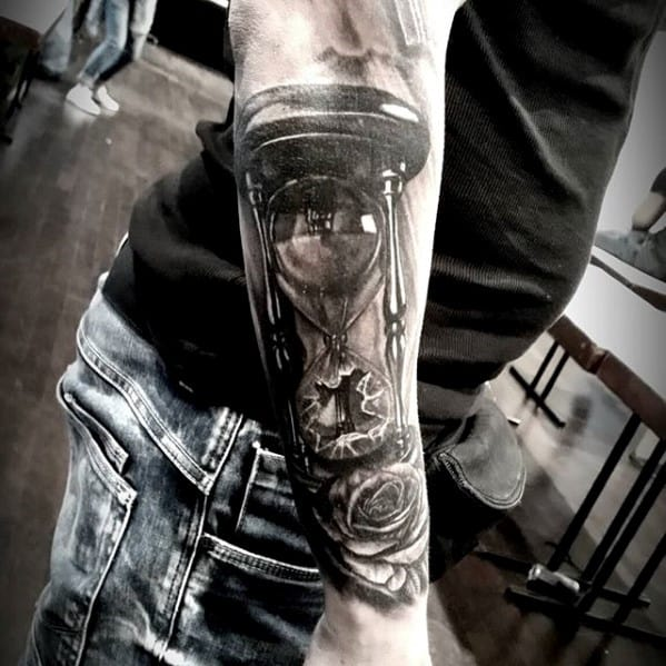 Mens 3d Realistic Broken Hourglass Rose Flower Outer Forearm Tattoo