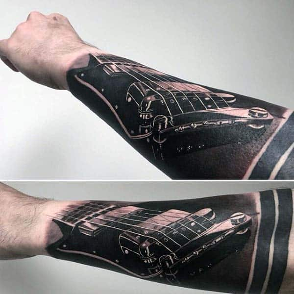 Mens 3d Realistic Extreme Guitar Strings Forarm Sleeve Tattoo