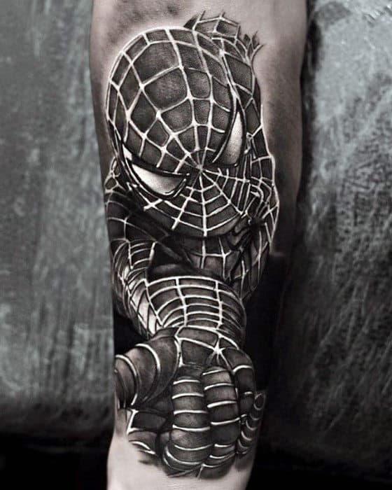 Mens 3d Realistic Marvel Spiderman Superhero Inner Forearm Tattoo Ideas