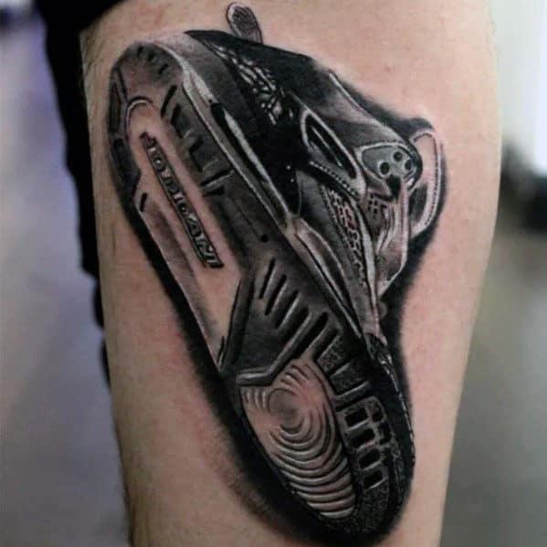 Mens 3d Realistic Nike Sneaker Tattoo Design On Legs