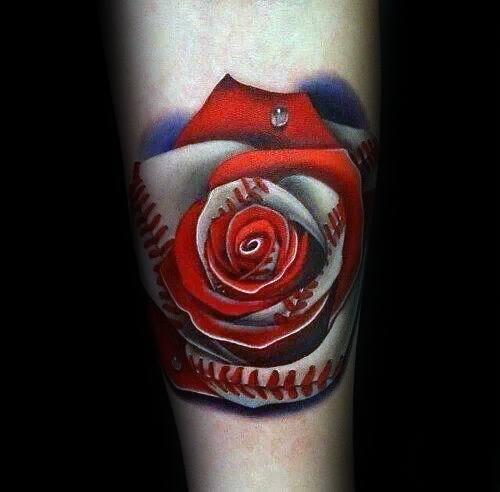Mens 3d Realistic Rose Flower Boston Red Sox Baseball Tattoo Design Inspiration