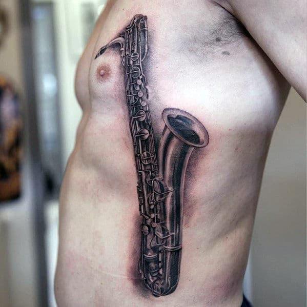 Mens 3d Realistic Saxophone Rib Cage Side Tattoos