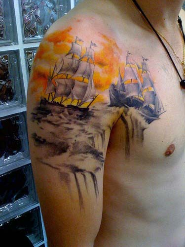 Mens 3d Sailing Ships Sky Tattoo With Ocean Water On Upper Arms