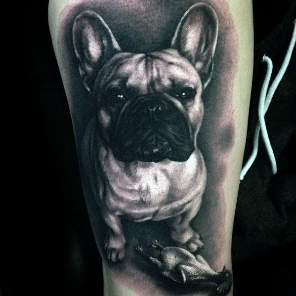 Mens 3d Shaded Bulldog Portrait Leg Tattoo