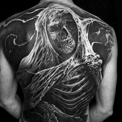 Mens 3d Skeleton Bones Cool Back Tattoo Designs