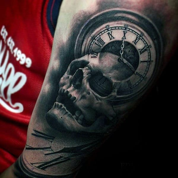 Mens 3d Skull And Clock Roman Numeral Arm Sleeve Tattoos