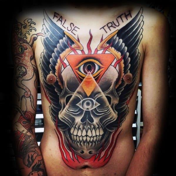 Mens 3d Skull Traditional Eye Of Providence Chest Tattoo